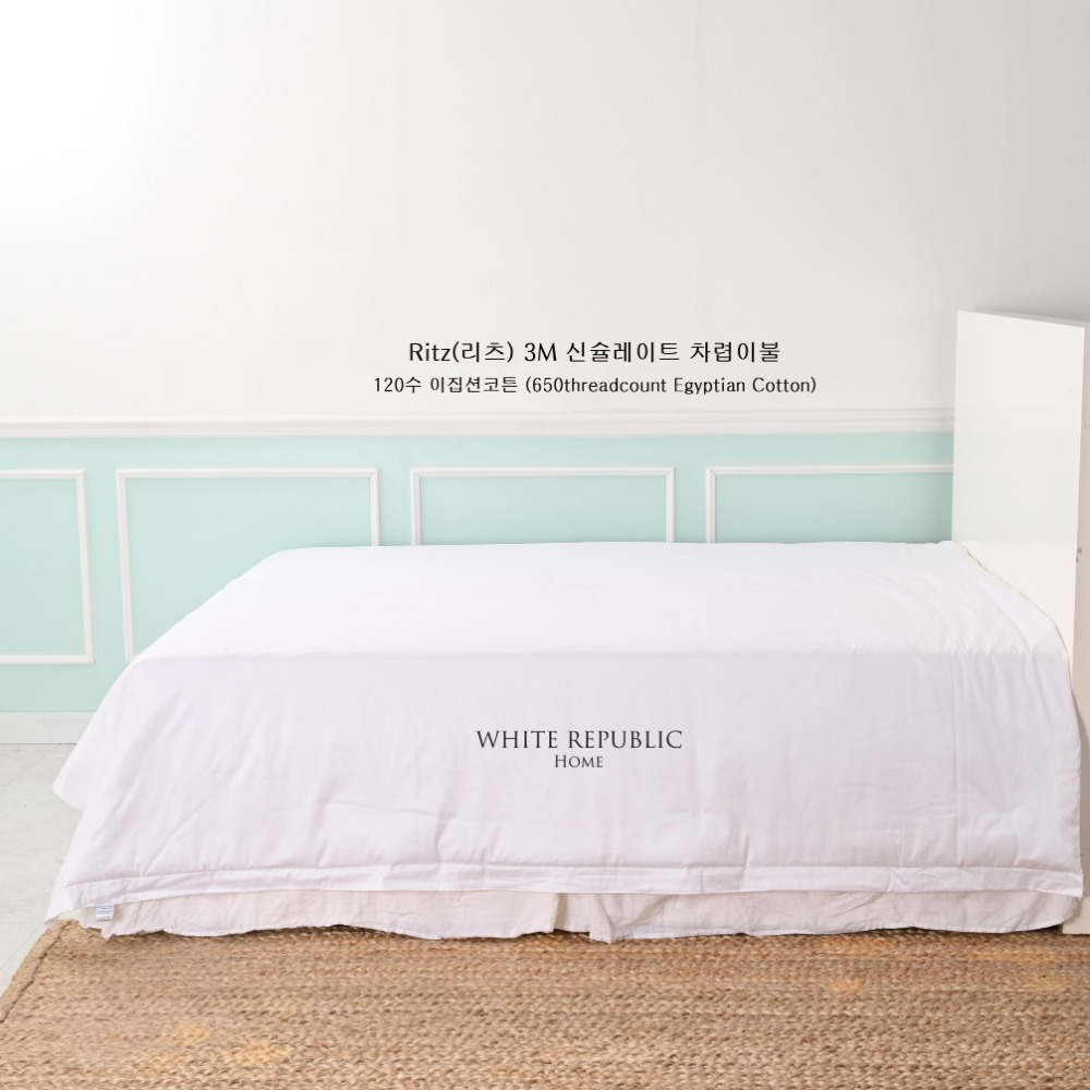 [120수 650TC 이집션코튼] Ritz Collection 3M 신슐레이트 Summer Comforter (SS,Q,K/White,Mint)