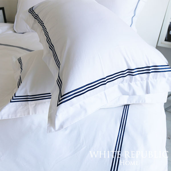 Dulwich Oxford Pillowcase (White-Navy)