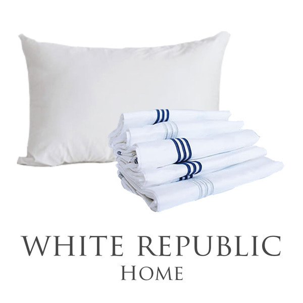 Dulwich Oxford Pillow Set (White-Silver, White-Navy)