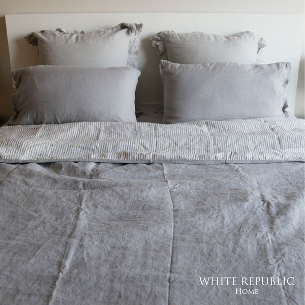 [균일가] French Linen Duvet Cover - Grey Stripe