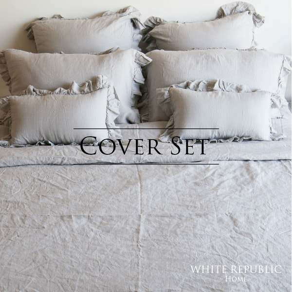 French Linen Cover Set (White / Light Pink / Smoke Grey)