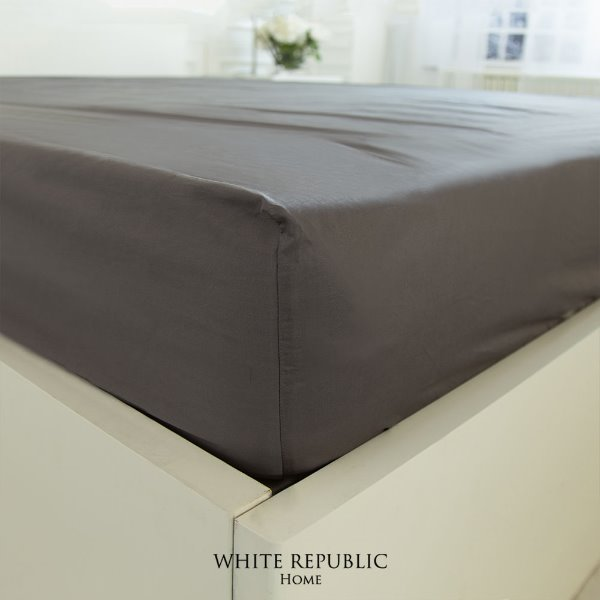 Duke Fitted Sheet - White, Charcoal Grey (SS, Q, K)