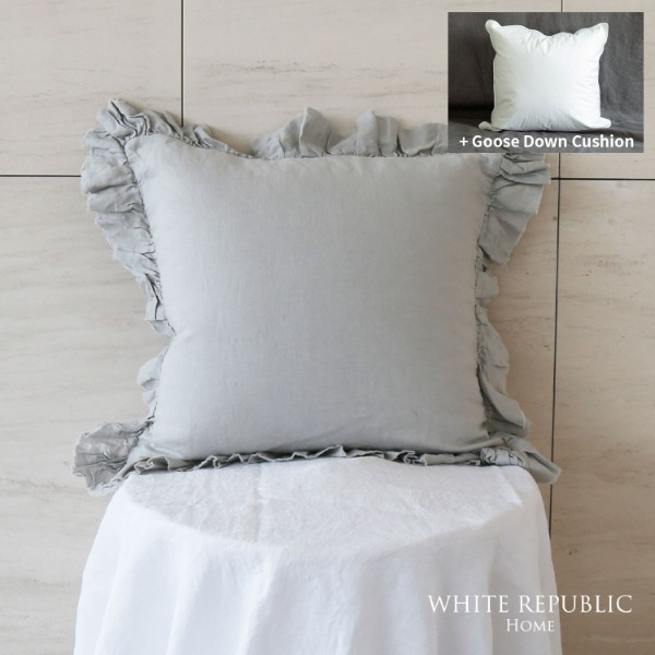 French Linen Cushion Case  + Goose down cushion Set 45x45 (3colors)