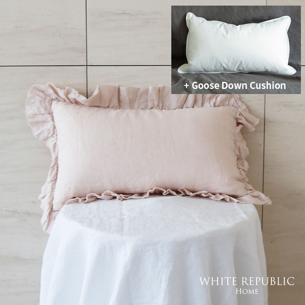 French Linen Ruffle Mini Pillowcase + Goose down cushion 30*50 set (3color)