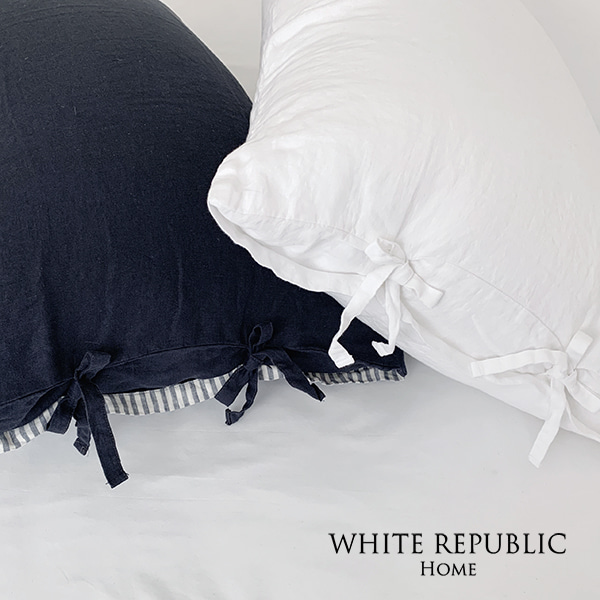 French Linen Housewife Pillowcase - White, Blue Stripe