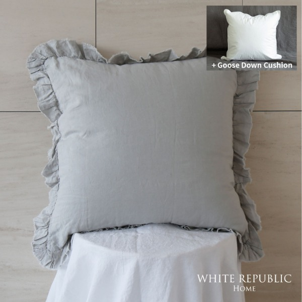 French Linen Cushion Case  + Goose down cushion Set 65x65 (3colors)