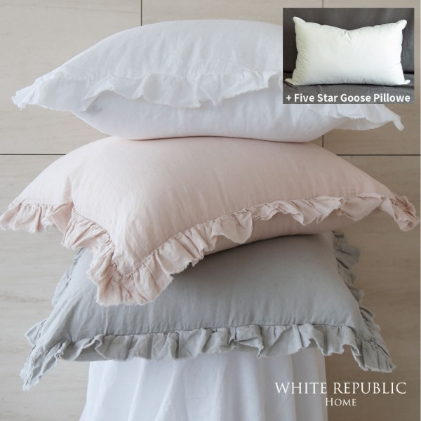 French Linen Ruffle Pillowcase + Five Star Goose Pillow set