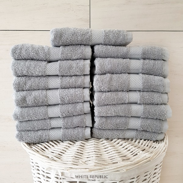 Savoy Collection Hand Towel 15P - Light Grey