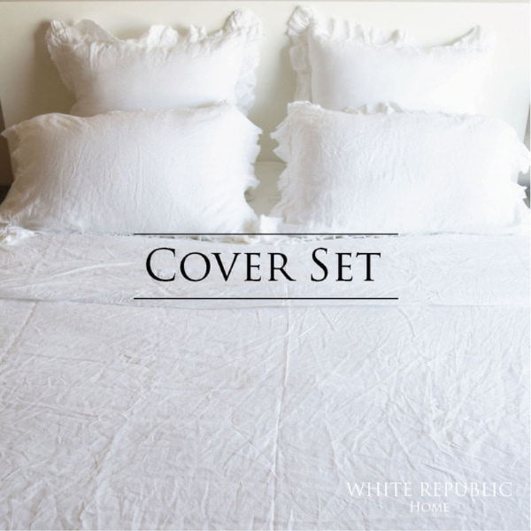 French Linen Ruffle Duvet Cover Set SS/Q/K (White / Light Pink)